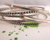 Stacking bangle bracelets  set of 7 - 925 solid sterling silver - handmade sterling silver bangles - One of each bangles set - BB 16005
