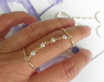 Pearls slave ring  - Pearl double ring - adjustable double ring   - silver - gold - rose gold pearl double ring