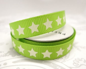 Green Stars Grosgrain 3/8 -- 4 feet -- American Crafts