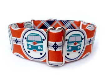 "Groovy Buses Dog Collar - Adjustable 1"" or 1.5"" Orange and Blue Buses and Plaid Martingale Collar or Buckle Dog Collar"