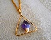 Amethyst pendant natural crystal geometric triangle healing crystal new age scrying dowsing womens mens jewelry gold plated delicate setting