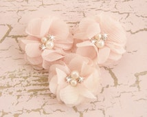 Blush Pink Chiffon Flowers with Rhinestones and Pearls -  Hand-dyed Blush Flowers
