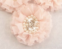 Blush Pink Chiffon Flowers with Rhinestones and Pearls -  Hand-dyed