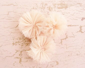 Blush Chiffon Frayed Flowers -  Hand-dyed Ballerina flowers