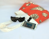 Sea shell purse, shoulder purse, pleated purse, tote bag, canvas purse, canvas bag, summer purse, cotton purse, nautical purse