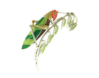 RESERVED!!!Ultra Rare 1941 Boucher MB Phrygian Enamel Rhinestone Grasshopper Brooch Pin-