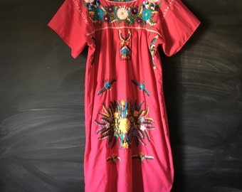 Vintage Pink Mexican Embroidered Dress