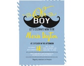 Vintage Mustache Baby Shower Invitation Classic Blue Stripe Yellow Printable Personalized or Printed Little Man Party Invites Typography Fun
