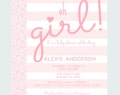 Pink Stripe Baby Shower Invitation Personalized Prints or Printable Oh Girl Invites with Calligraphy Joyful Sprinkle Celebration