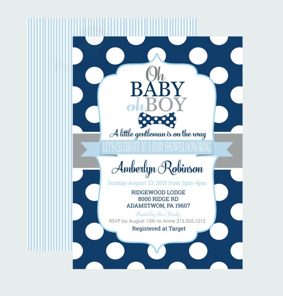 navy bow tie baby shower invitations baby boy little man party dapper
