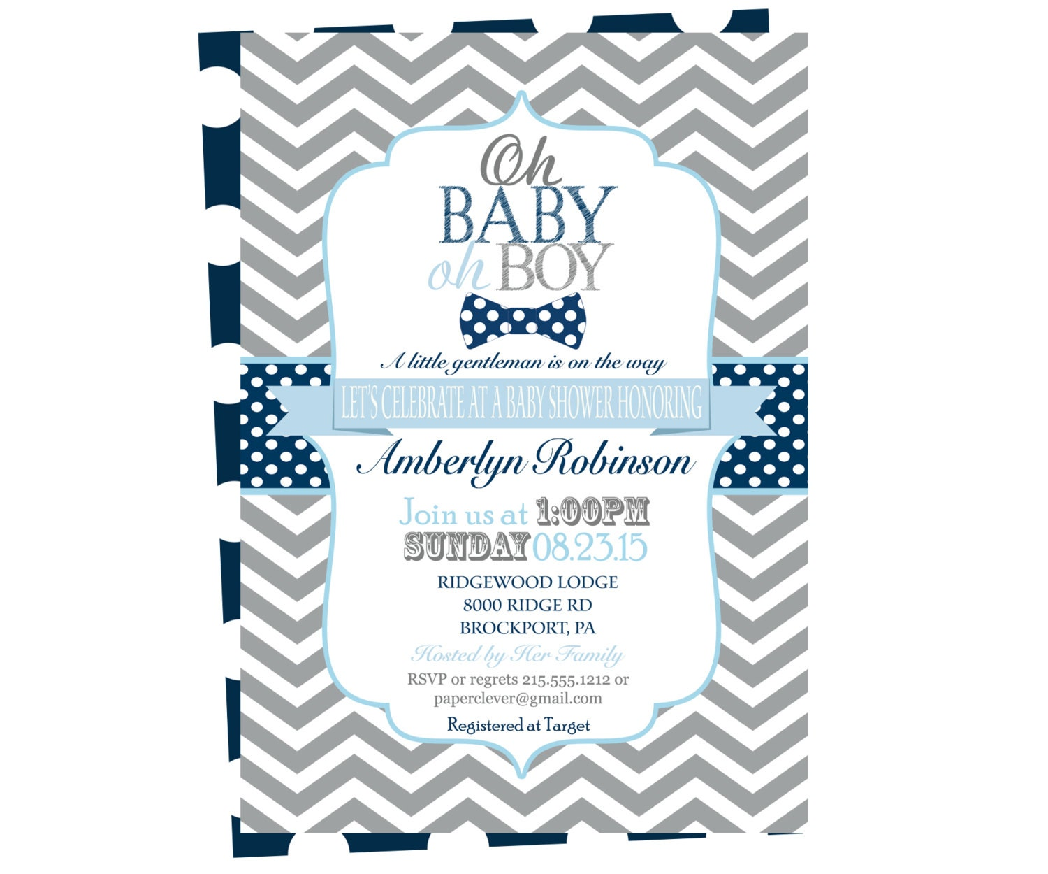 navy baby shower invitation boys bow tie by papercleverparty