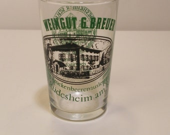 Vintage 1970s Set of 2 tasting Glasses WEINGUT G. BREUER winery  - vintage barware, retro barware, man cave, home bar, wine