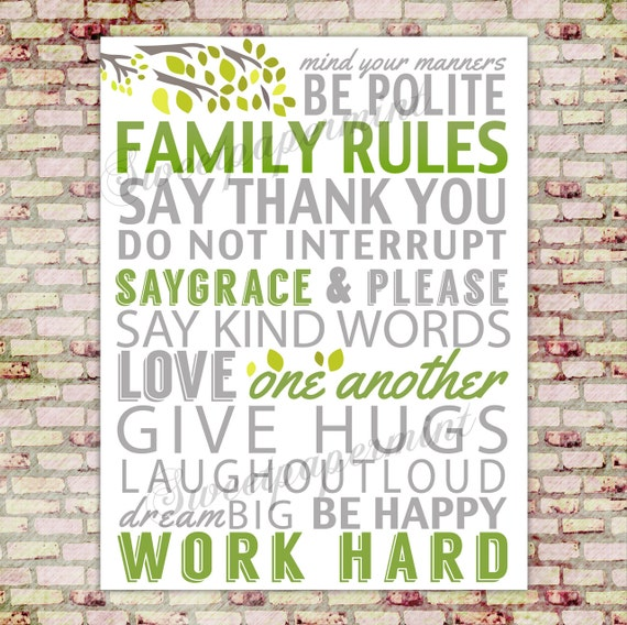 Family rules poster wall art decor decoration for Party wall regulations