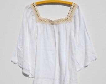 White Summer Gauze & Crochet Top Mexican Peasant Blouse