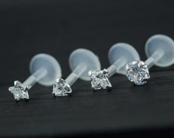 AAA Cubic Zirconia (fancy shape) push in 16gauge bio flexible Tragus / lip labret / cartilage/ helix / monroe piercing