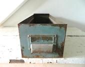 Vintage Metal File Drawer Box Industrial Storage Green