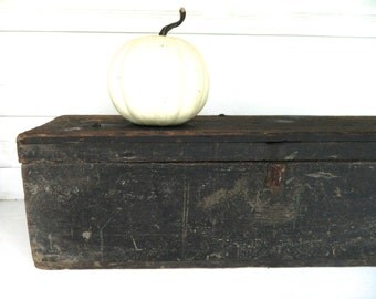 Vintage Wood Box Black Rustic Primitive with Lid