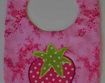 Baby Bib for Dressy Occasions Toddler Bib Bright Pink Strawberry Baby Gift