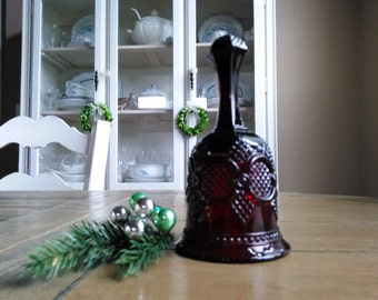 Red Vintage Avon Bell Cape Cod Collectible Glass