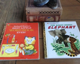Two Cute Golden Books Richard Scarry's Best Little Word Book Ever and The Saggy Baggy Elephant