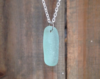 Aqua sea glass necklace, beach glass necklace, aqua sea glass pendant