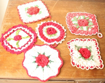 Vintage Doilies, Red and White, Crocheted Doilies, Grandmas Doilies, Colorful Doilies, Lace