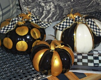 Charming Trio of Black Gold and Off White Hand Painted French Market Mini Pumpkins Mackenzie Childs Courtly Check Ribbon Accents