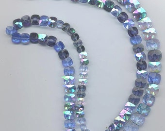 34 inches of vintage West German glass faceted rectangles in shades of blue