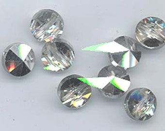 Twelve amazingly rare vintage Swarovski crystal beads: Art. 20/5102 - 8 mm - crystal comet argent light