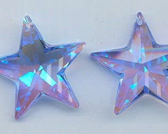 One dazzling and scrumptious Swarovski strass star pendant - awesome color medium sapphire/blue AB (glacier blue) - Art 8815 - 28 mm