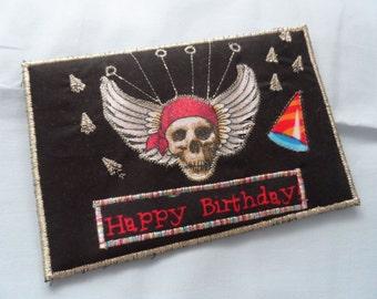 Quilted  Postcard - Handmade  Happy Birthday Postcard - Skull Postcard - Patchwork  Postcard - Fabric  Postcard - Appliqué Postcard