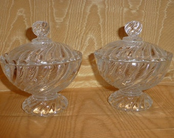 Pair Of Vintage Baccarat Swirl Pattern Lidded Candy Dishes, Ca. Late 1970's