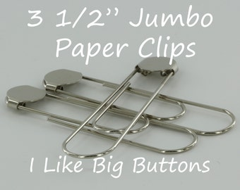 50 Silver Jumbo / Giant 3 1/2 Inch Bookmarks/Paper Clips/Paperclips w/ Glue Pads Large