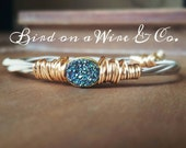 Deep Blue Druzy Bangle- Guitar String Jewelry. Nashville.Memphis. Knoxville. Chattanooga. Tennessee. Handmade. Bird on a Wire Jewelry
