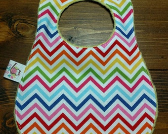 Reversible Baby Bib Ann Kelle Rainbow Remix Chevron with Yellow Dimple Minky Newborn Infant Baby Boy Girl Drool Pad Accessories ITEM #264