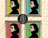 Set of 4 Technicolor Audrey Hepburn Prints on Antique Unframed Upcycled Bookpaper