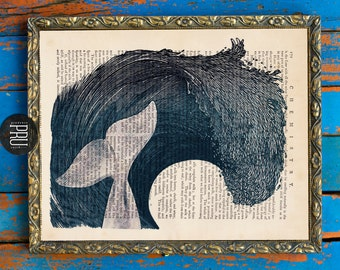 The Waves Have Their Way Whale Collage Print on an Unframed Upcycled Bookpage