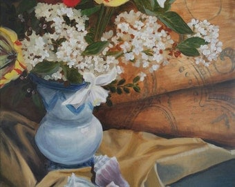 SALE -ORIGINAL OIL -Spring Still Life with Tulips & Shells