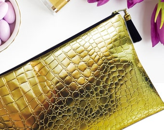 Gold Metallic Crocodile Clutch