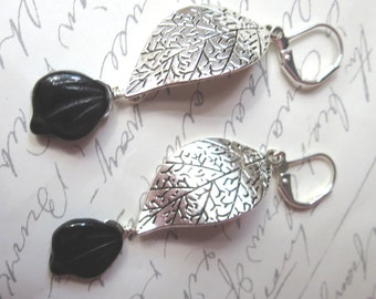 Silver and Black Leaf Leverback Earrings