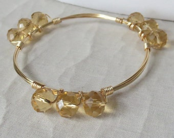 """Gold Crystal Bangle Bracelet """"Bourbon and Bowties"""" Inspired"""