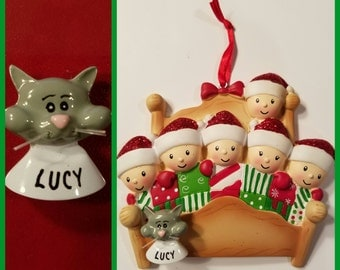 Personalized Gray Cat ADD ON To Any Ornament