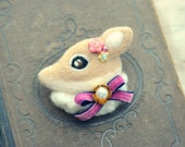 Handmade jeweled deer brooch, needle felt deer brooch, whimsical felt animal brooch, lolita accessories, pink bow, gift under 25