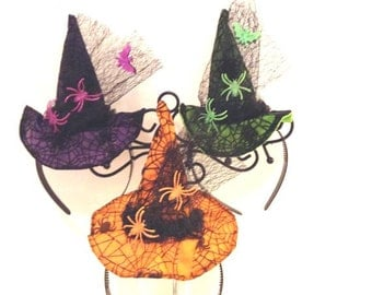 Fun Witch Hat Headband....3 Colors..All Ages!!!..Halloween, Fall, Partywear Photo Prop