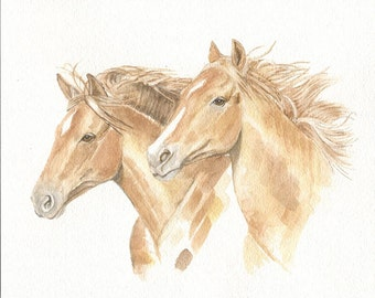 Horses,  8x10 original watercolor painting, art & collectibles, horses, earthspalette