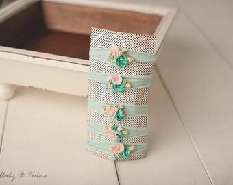 Blue & Blush Pink Floral Stretch Jersery Wrap Headband Newborn Toddler headband photography prop