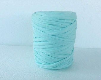 T-Shirt yarn, cotton cord, cyan t-shirt yarn, Necklaces Bracelets, home decor, recycled fabric  yarn