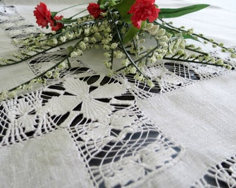 Antique Tablecloth, Pulled Thread Work, White Work Tablecloth, 51 x 46, Victorian Home Decor, Vintage Table Linens by TheSweetBasilShoppe