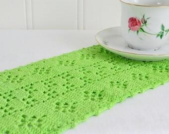 Small crochet tablerunner , vintage Swedish , green home decor , handmade crochet, view all details
