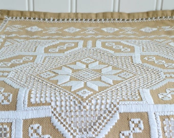 Brown and white Hardanger table runner, vintage Swedish linen embroidery